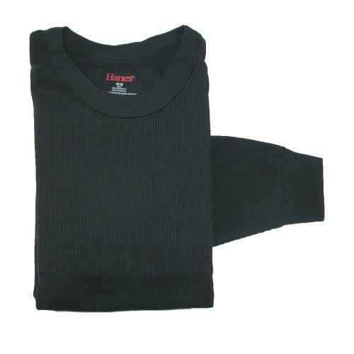 hanes-mens-x-temp-cotton-long-sleeve-thermal-crew-top-large-black