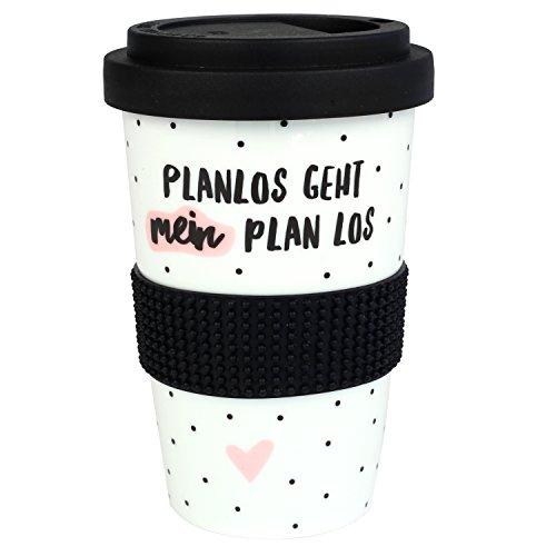 Odernichtoderdoch Coffee-to-go Becher Planlos geht Mein Plan los – 13 cm – 0,4 l – Porzellan – mit Deckel