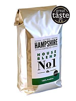 Hampshire Coffee Co - House Blend No 1- Great Taste Award Winner 2014 - Coffee Beans 1kg Bag - 100% Arabica Beans from Hampshire Coffee Co.