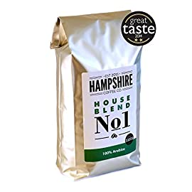Hampshire Coffee Co Medium Roast Arabica Whole Beans, House Blend No 1, Great Taste Award Winner, 1kg Bag
