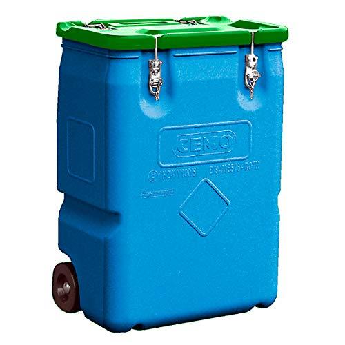 CEMO Gefahrstoff-Sammelbehälter mit 2 Rädern, Inhalt 250 l Deckel grün -