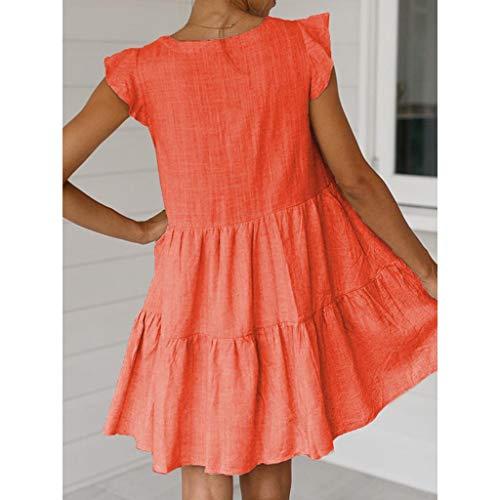 Lialbert Boho Leinenkleid Vintage Skaterkleid Dame Kleid A-Linie V-Ausschnitt Pailletten RüSchenäRmeln Strandkleid Tunika T-Shirt-Kleid Kurzes HäNgerkleid Orange
