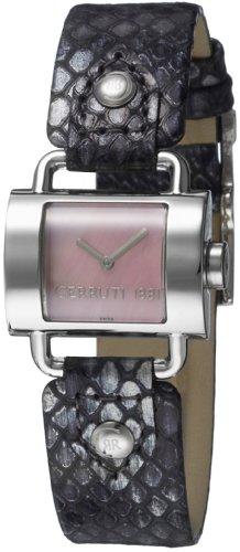 Cerruti 4289358 - Reloj analógico de mujer de cuarzo con correa de piel negra - sumergible a 30 metros