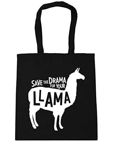 HippoWarehouse Save the Drama for Your Llama Tote Shopping Gym Beach Bag 42cm x38cm, 10 litres