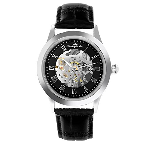LindbergSons-Mens-Automatic-Watch-with-Black-Dial-Analogue-Display-and-Silver-Leather-Strap-CHP194