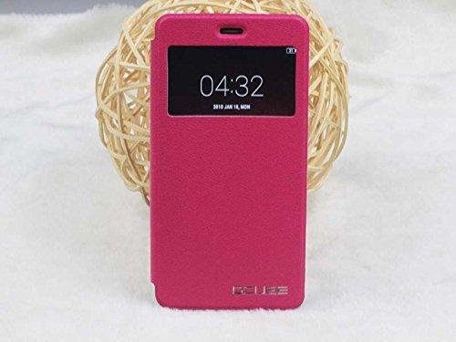 JIAYU S3 Pu Leder Kunstleder Flip Cover für JIAYU S 3 5.5 Zoll 3G Smart Phone Handy Tasche Hülle Case Handytasche Handyhülle Schutzhülle Etui Halter Halterung Handyhalter (Rot)