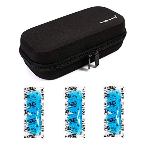 Tragetasche für kühlbare Isolationsbeutel mit Temperaturanzeige EVA Hardshell Wasserdicht Medizinische Versorgung für Diabetiker mit 3 Eispackungen (Schwarz) - Schwarze Kleine Appliance