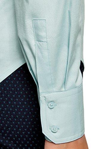 oodji Ultra Donna Camicia Basic in Cotone Blu (7000N)