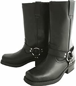 long leather biker cow boots