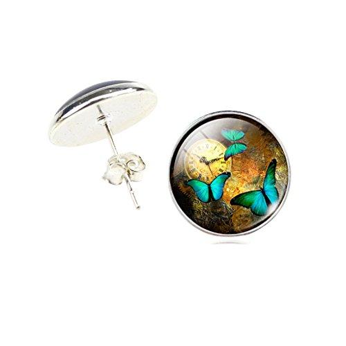 Frauen Jahrgang Uhr Grün Schmetterling Ohrstecker Ohrringe -