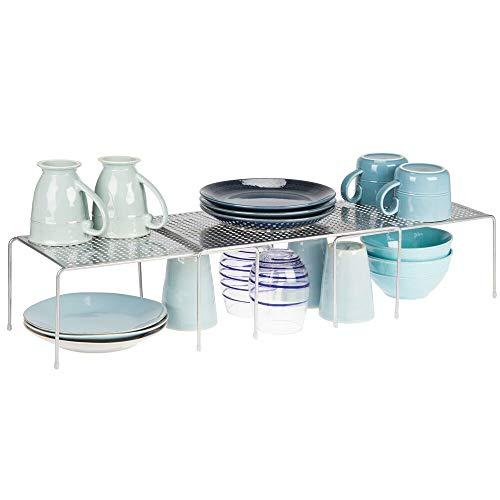 mDesign Set da 3 Porta piatti e porta stoviglie allungabile - Scaffale cucina salvaspazio - Ideale per ottimizzare gli spazi e sfruttare ogni centimetro - argento