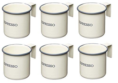 Kitchen Craft Living Nostalgia Espresso Tassen, 75ml (2.5FL oz) (Set von 6), Emaille, antik Creme, 7x 5x 5cm
