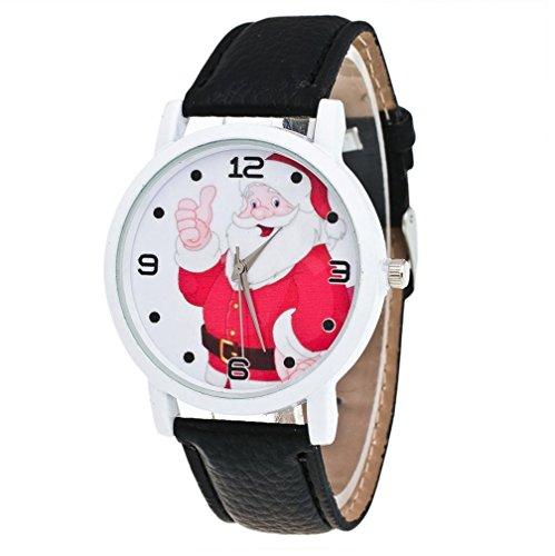 Zolimx Weihnachten Vogue Lederband Analog Quartz Uhren (Schwarz)