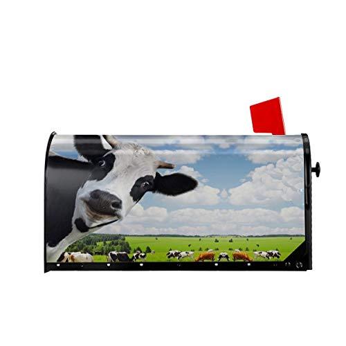 Foruidea Briefkasten-Abdeckung, Motiv Kuh in grüner Farm, magnetisch, für Briefkasten, Briefkasten, Übergröße, 21 x 18 cm 25.5x21 in Mehrfarbig