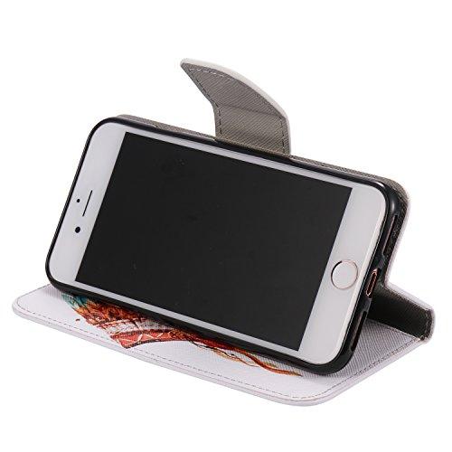 Cozy Hut Custodia iPhone 7 con Strap, iPhone 7 Flip Custodia Cover Case, Creative Disegno stampa stile del libro Portafoglio Cover Case in PU Cuoio Wallet Caso copertina con funzione di supporto e mor cap India