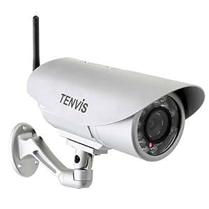 """Caméra IP de surveillance Tenvis IP391W – caméra IP de surveillance d'extérieur waterproof sans fil à vision nocturne – Caméra IP Wifi de sécurité CCTV avec filtre infra-rouge, capteur CMOS 1/4"""" et étanche"""