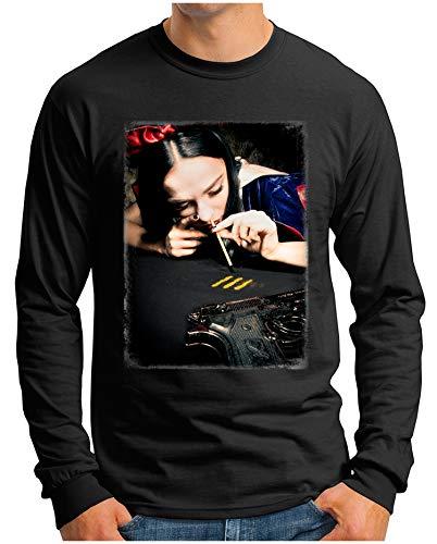 OM3® - Snow-White - Langarm T-Shirt | Herren | Cocaine Kokain Gangsta Bitch Drug Fun Printshirt | Schwarz, XL - Bitch Biker-shirt