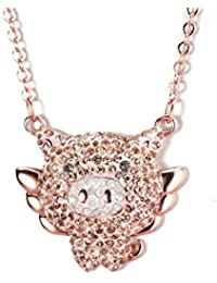 1653526032bd CTRCHUJIAN Plata Lindo Collar de Cerdo Volador Cadena de Clavícula Femenina  de Moda de Oro Rosa