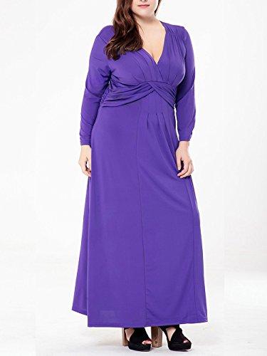 Damen V-Ausschnitt Lange Ärmel Lange Kleider Abendkleid Partykleider Cocktailkleider Lila