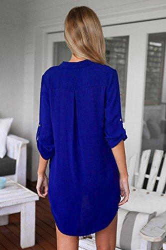Bigood Chemisier Femme Mousseline de Soie Chemise T-shirt Blouse Tops à Manches Longues Col V Bleu