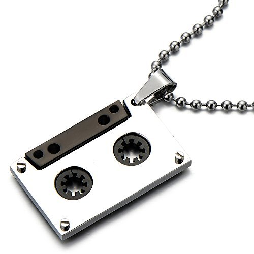 unisex-cassette-pendant-necklace-for-men-for-women-stainless-steel-with-30-inches-ball-chain