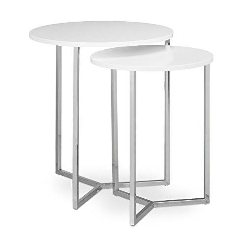 Relaxdays Table console ronde lot de 2 diamètre 50 et 40 cm table d'appoint plateau rond en bois canapé table gigogne pieds en métal chromés stables bar restaurant salon moderne, blanc