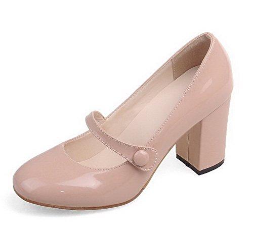AgooLar Damen Hoher Absatz Lackleder Rein Schnalle Rund Zehe Pumps Schuhe Nackte Farbe