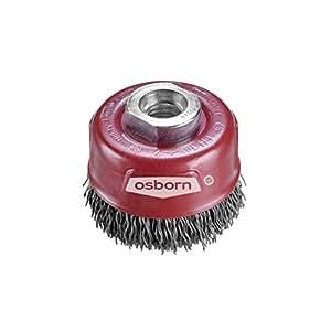 Osborn brosse boisseau pour meuleuse d'angle de 125 mm **LONGLIFE brosse D75 mm filetage m14 x 2,0 acier ondulés Cordwire 0,30 mm, rouge, 3912613163 TÜV
