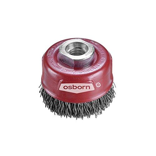 Osborn Pot Brosse pour meuleuse d'angle 115 mm, * Longlife * Pot Brosse D60 mm filetage M14 x 2,0 gewellter Cord Wire en acier 0,30 mm certifié TÜV, rouge, 3902613161