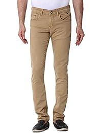 Kozzak Khakhi Slim Fit Stretchable Jeans For Men
