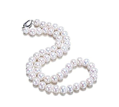 JYX Pearl  -  Sterling-Silber 925 Legierung Rund Süßwasser-Zuchtperle Perle