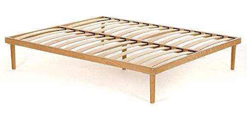 Materassimemory.eu Rete Matrimoniale completamente in legno di faggio prima scelta misura 160x190 con doghe in faggio naturale