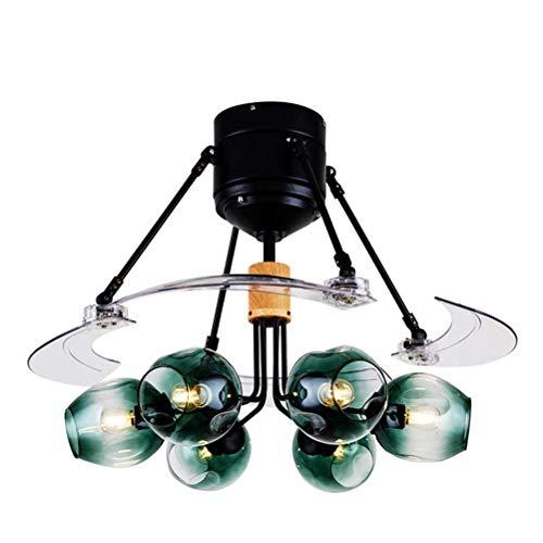 6 Licht Deckenventilatoren mit Lampe, Restaurant Fan Kronleuchter moderne Fan Anhänger Beleuchtung Wohnzimmer Schlafzimmer Fernbedienung switch-48inch -