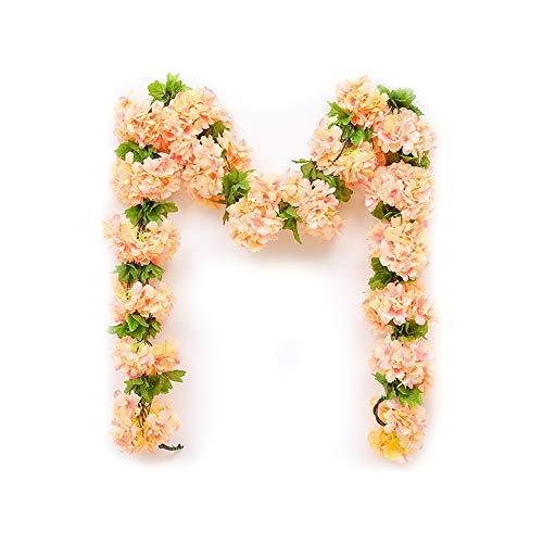 DAYOLY Künstliche Kirschblüten Rattan Girlanden hängen Simulation Gefälschte Künstliche Blume Ivy Vine Leaf Pflanze Blume für Balkon nach Hause Hochzeit Party Garten Kaffee Wand Dekor (Champagner) (Wand-dekor-garten)