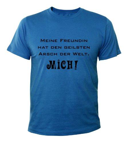 Mister Merchandise Cooles Fun T-Shirt Meine Freundin hat den geilsten Arsch der Welt Royalblau