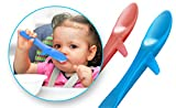 Cuchara'Ballena' especial para bebés y niños, evita que la comida se derrame, ideal para autoalimentación y BLW, suave y segura, silicona de grado alimenticio. Set de dos Whale-Spoons marca INVENTO