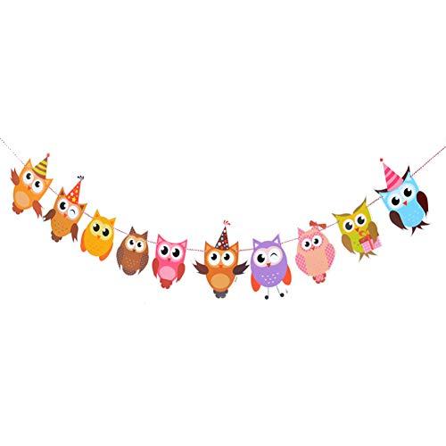 Wimagic 1 x Papier-Wimpelkette, kreatives süßes Eulen-Stil, doppelseitig, Party-Flaggen, Girlande für Babys, Kindergeburtstag, Hängedekoration für Wohnzimmer, Kinderzimmer, Garten