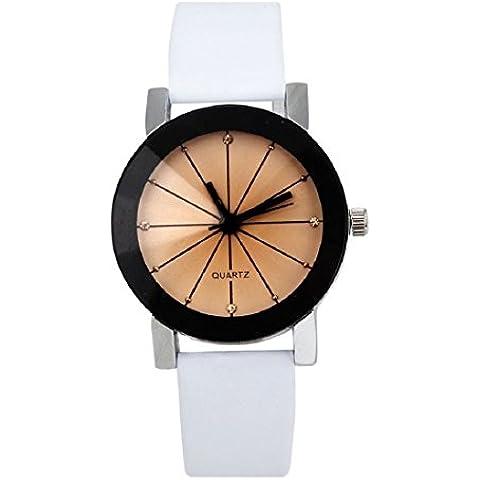Tongshi Mujeres de cuarzo Dial reloj de pulsera de reloj de cuero caja redonda