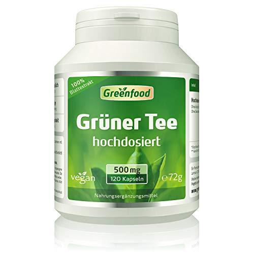 Grüner Tee Extrakt (90% Polyphenole), 500 mg, hochdosiert, 120 Vegi-Kapseln - OHNE künstliche Zusätze. Ohne Gentechnik. Vegan.