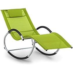 Blumfeldt Westwood Rocking Chair Chaise à Bascule • Chaise Longue • 164 x 83 x 65 cm (LxHxP) • Ergo Comfort: Surface Ergonomique • Ergo Relax: Coussin réglable et Amovible • Vert