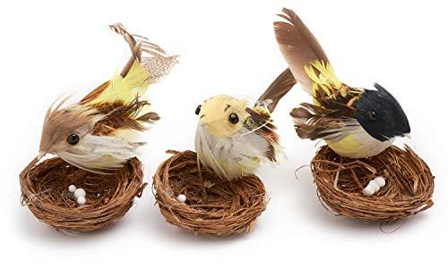 VBS 3er-Set Vogel im Nest ca. 7x8cm Osterdeko Ostern Strohnest Kränze