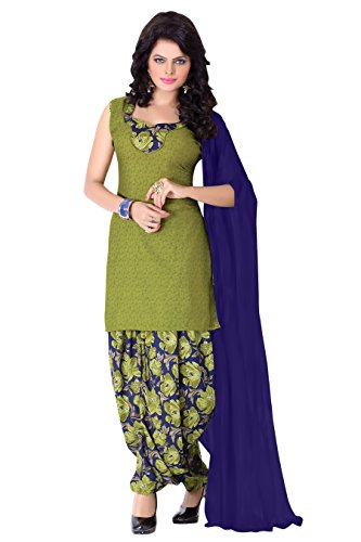 Banorani Womens Poly Cotton Unstitched Salwar Suit Dress Material (Gp-1041 _Mehendi Green _Free Size)