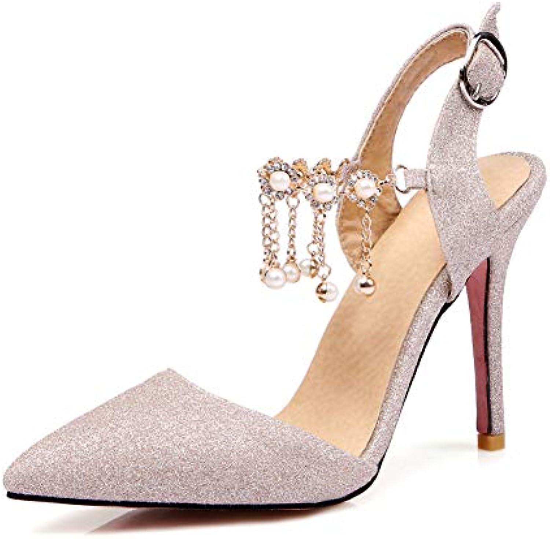 HLG Dames bride à la la à cheville talon haut chaîne en métal gland parti travail soirée soirée de bal mariage tribunal... a053b4