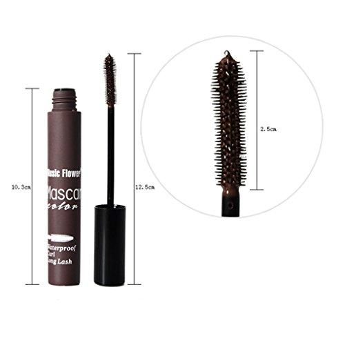 Providethebest Frauen Mädchen Bunte Waterproof Mascara Fan Wimper 3D-Faser-Mascara weibliche Augen Make-up-Tool Brown