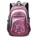 GWELL Kinder Schulrucksack Schultasche Freizeitrucksack Daypacks Backpack für 9-12 Jahre Mädchen Jungen Jugendliche mit der Großen Kapazität lila