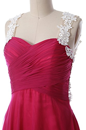 MACloth Women Lace Straps Ruched Chiffon Short Prom Dress Formal ...