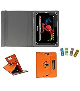Gadget Decor (TM) PU Leather Rotating 360° Flip Case Cover With Stand For DELL VENUE 7 3740 + Free USB Card Reader - Orange