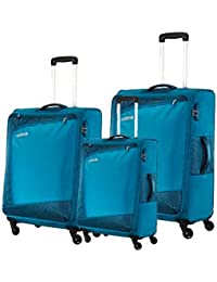 American Tourister Vienna Plus Teal Blue Trolley Bag Suitcase With Wheels Combo Set Of 3 Sizes