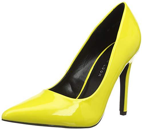 New Look Wide Foot Scramble, Zapatos de tacón con Punta Cerrada para Mujer, Amarillo (Bright Yellow 85), 36 EU