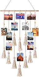 Mkouo Hanging Photo Displays Macrame Wall Hanging Picture Organizer with 30 Wood Clips Boho Decor for Home, Living Room, Bedroom, Ivory White, 42.5